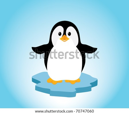 A cute little penguin on a bit of ice, looking happy. Editable vector illustration. - stock vector