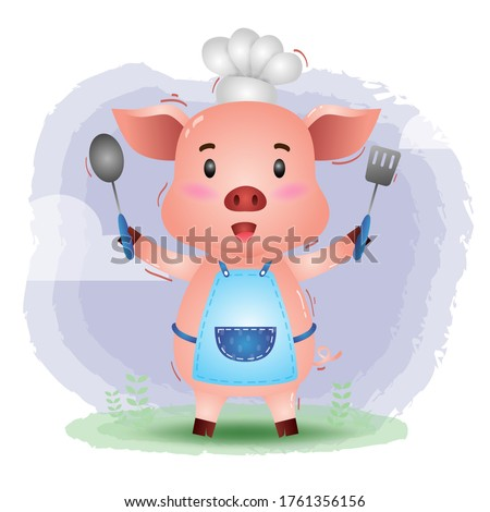 a cute little pig chef. Cartoon pig chef. Vector illustration