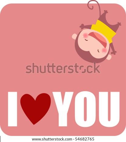 a cute monkey say i love you