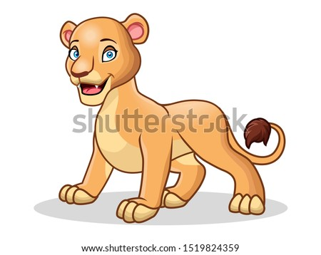 a cute of female lion cartoon