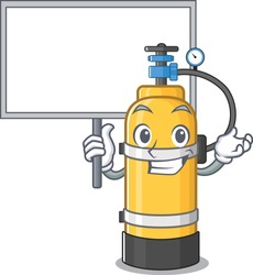 A cute picture of oxygen cylinder cute cartoon character bring a board
