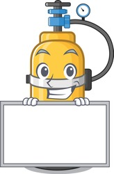 A cute picture of oxygen cylinder grinning with board