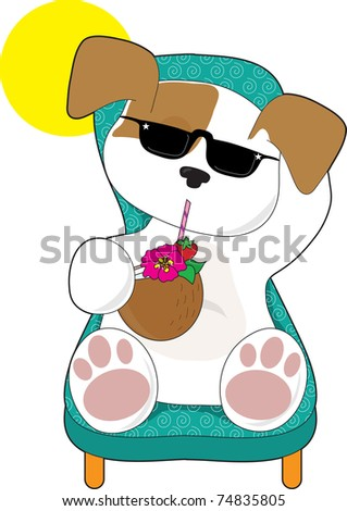 A cute puppy is relaxing in a lawn chair and enjoying a tropical drink