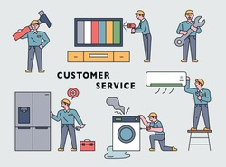 A cute repairman is fixing a home appliance with a huge tool. flat design style minimal vector illustration.