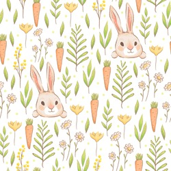 A cute seamless pattern with rabbits, carrots and flowers. Easter spring design with hares and grass. Imitation of handmade watercolors