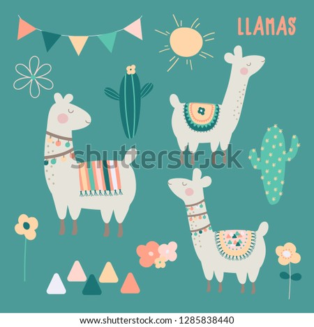 a cute set of llamas  cactus