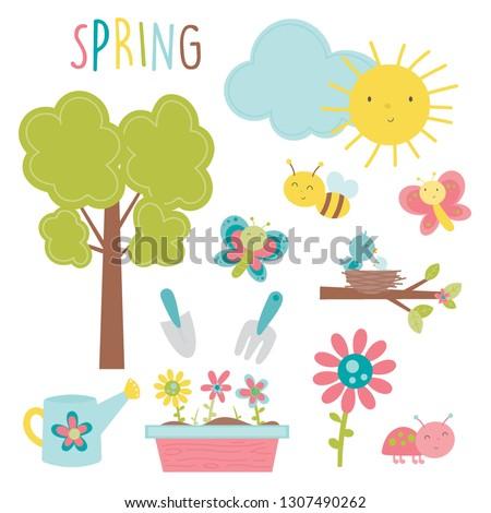 a cute spring set  13 vector