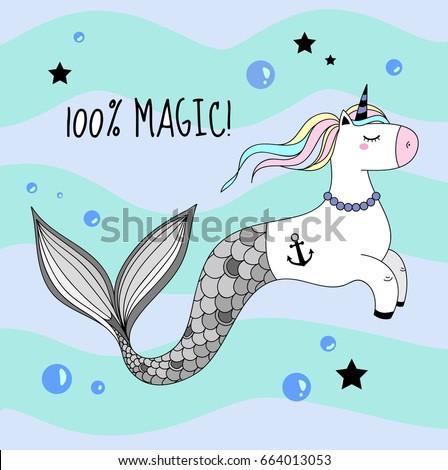 a cute unicorn with a mermaid