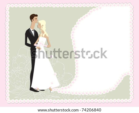 stock vector A cute wedding design featuring a bride and groom