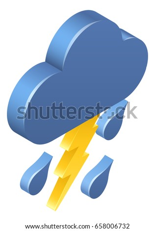 A 3d isometric lightning rain cloud weather icon concept
