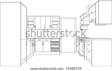 A 3d Single Point Perspective Line Drawing Of A Fitted Kitchen
