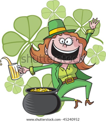 A dancing, cartoon Leprechaun and her pot of gold. Leprechaun, clover background and pot of gold are all on separate layers.