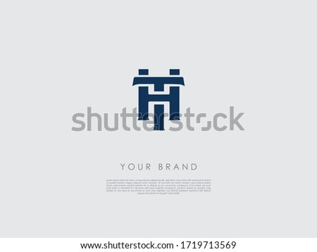 a dark blue business logo with initials h and t  Stock fotó ©