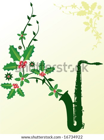 A dark green sax with Christmas holly coming out of it