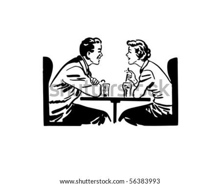 a date over sodas   retro clip...