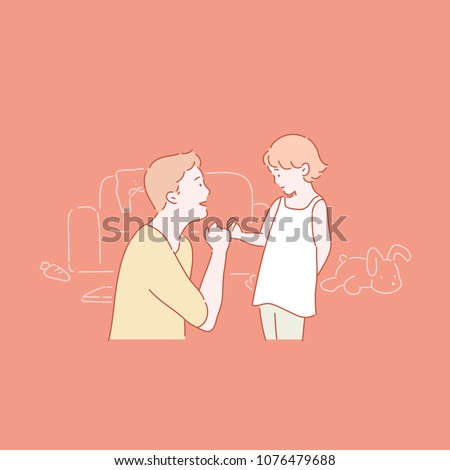 A daughter who makes a finger appointment with her father. hand drawn style vector doodle design illustrations.