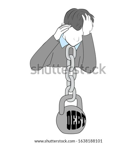 a DEBT kettlebell hangs on a person's neck. debts, loans, hanging heavy load. vector illustration.