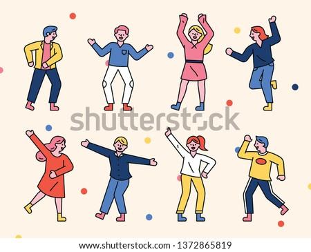 A delightful dancing people decoration set. flat design style minimal vector illustration
