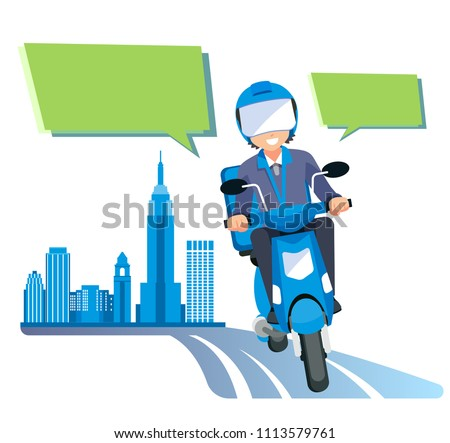 a delivery quick parcel by motorcycle services in the city.