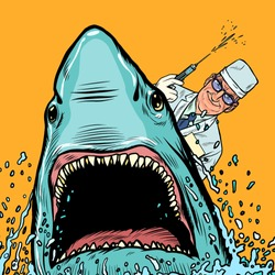 A dentist and a shark, the doctor makes cauterized. Pop art retro vector illustration drawing