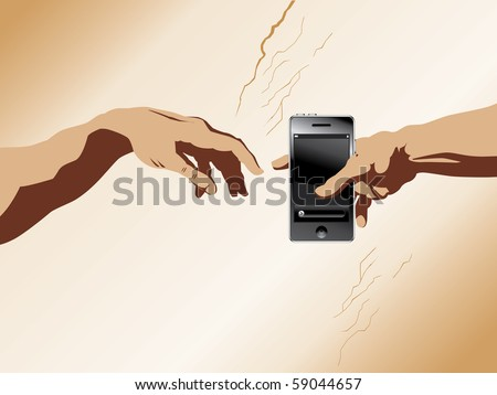"A depiction of michaelangelo's ""Creation of Adam"" with a cell phone added"