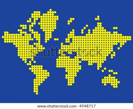 A depiction of the world using yellow dots on a blue background
