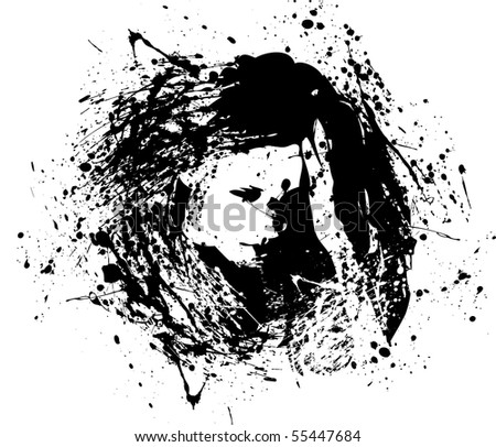 a depressed ink girl in a