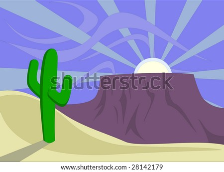 Desert Sunset With Saguaro Cactus And Plateau (Mesa). Stock Vector ...Western Desert Clipart