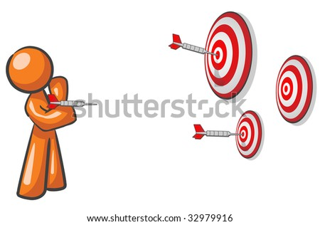 A design mascot aiming for multiple targets. Marketing concept.