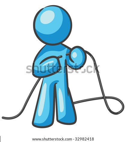 """A design mascot fixing a cord, or """"tying up loose ends""""."""