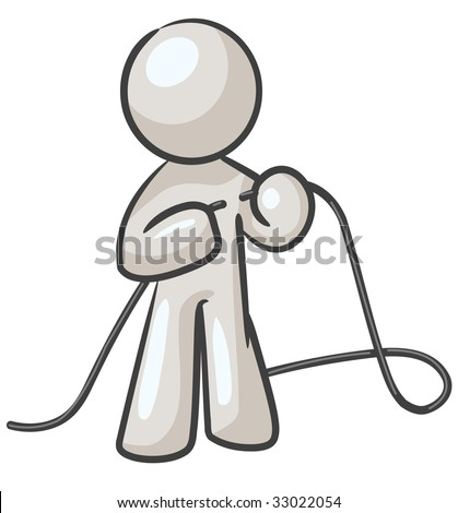 "A design mascot fixing a cord, or ""tying up loose ends""."