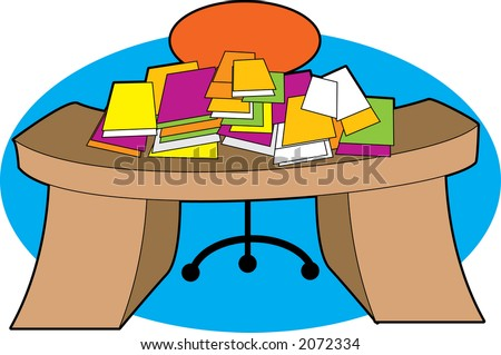 A desk piled with papers in a mess