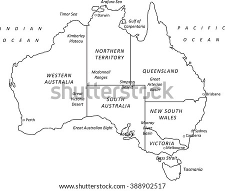 A Detailed Black Outline Map Of Australia On A White ...