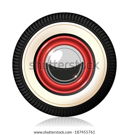 A detailed illustration of the retro automobile wheel. Gradient mash. Vector.