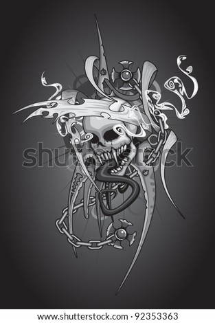 A detailed tattoo styled design containing no transparencies or gradients (other than the background).