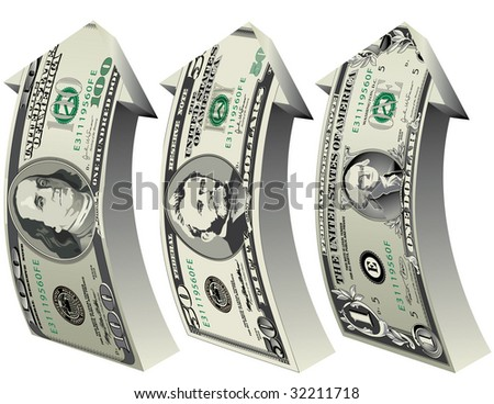 A detailed vector drawing of a 100, 50 and 1 dollar bills forming arrows