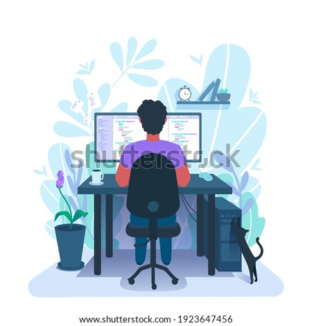 A developer programming. A programmer freelancer workplace. The coder at remote work from home. Person coding, writing a computer code. A vector cartoon illustration.
