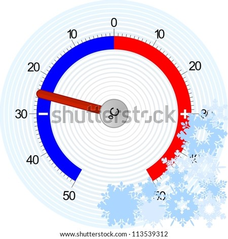 A device for measuring temperature and snowflakes.The illustration on a white background.