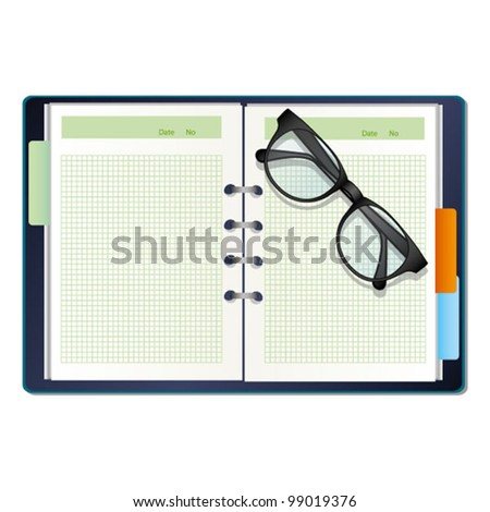 a diary and a glasses