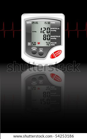 A digital blood pressure monitor against black with reflection on shiny surface. Heartbeat shown in red.