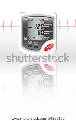 A digital blood pressure monitor against white with reflection on shiny surface. Heartbeat shown in red. - stock vector