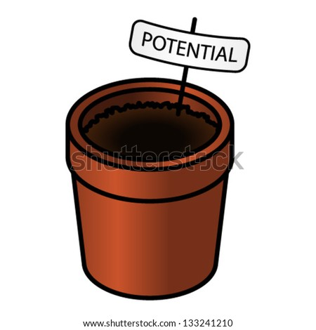"""A dirt-filled terracotta flower pot filled with a tag saying """"potential"""". Concept: nurturing, growing, education, training, development."""