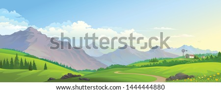 A distant barn on the lush green meadows with mountains and a road