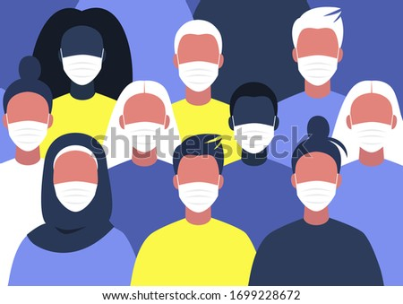 A diverse group of people wearing face masks, coronavirus outbreak