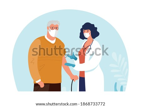 A doctor in a clinic giving a coronavirus vaccine to an elderly man, concept illustration for immunity health. Immunization of adults, covid vaccine. Flat illustration isolated on white background