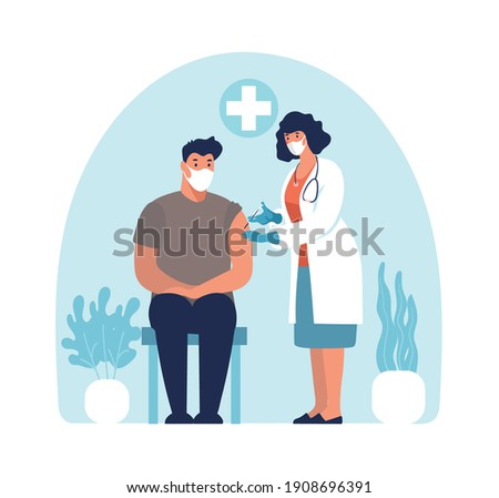 A doctor in a mask and gloves in a clinic makes a man a coronavirus vaccine, a conceptual illustration of the immunity of adults and the elderly, a covid vaccine. Vector isolated on white background.