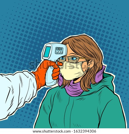 A doctor measures the temperature of a woman in a medical mask. Novel Wuhan coronavirus 2019-nCoV epidemic outbreak. Pop art retro vector illustration 50s 60s style Stock photo ©
