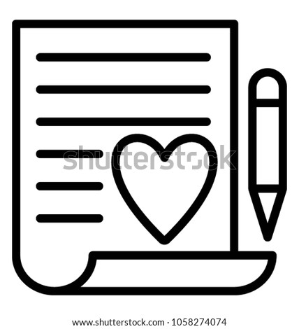 A document with heart sign and pencil concept of wish list