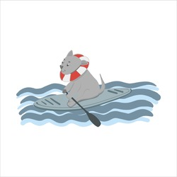 A dog on a surf board in the ocean, a dog on a swimming board. Vector doodle, cartoon stock illustration hand drawn, isolated on white background