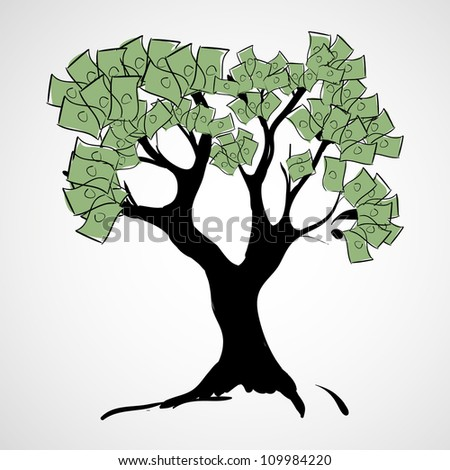 a dollar tree - stock vector